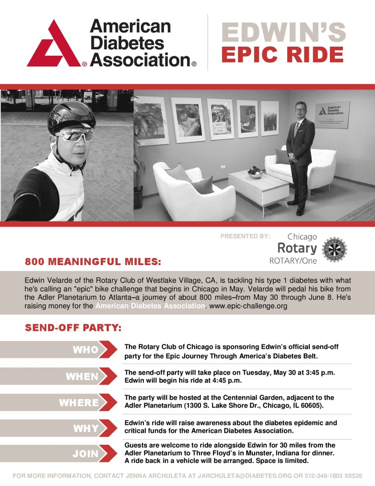 Edwin's EPiC Ride RotaryONE ADA Send-off Flyer